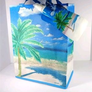 Handbags - NAUTICAL PALM TREES PARADISE BEACH TOTE AND BOTTLE